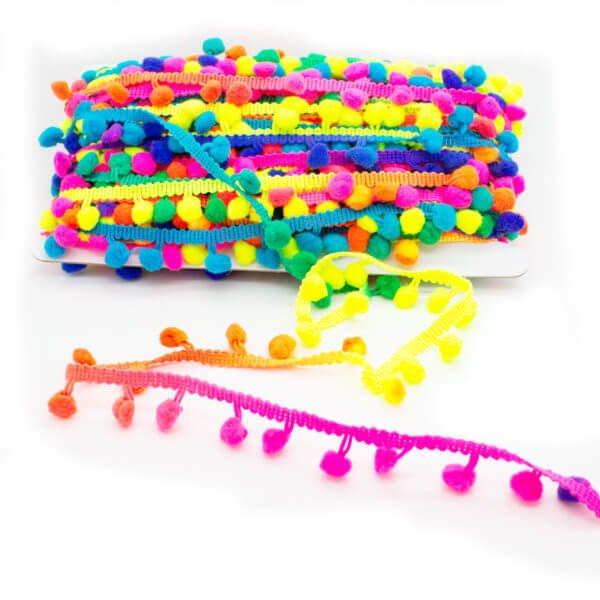 Pom Pom Trim Brightly Coloured