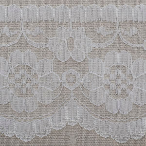 White Flat Lace with Floral Pattern
