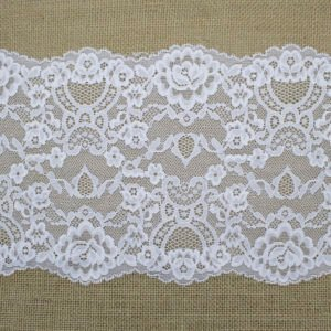 Ivory Stretched Lace with Floral Pattern