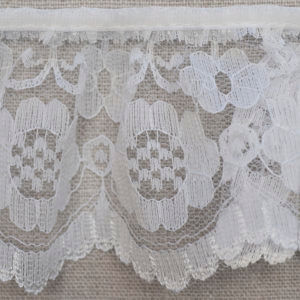 White Gathered Lace with Floral Pattern