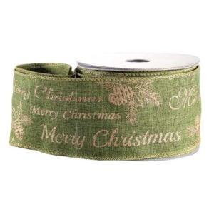 Green Gold Merry Christmas Ribbon