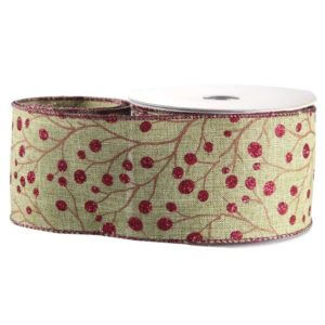 Green-Red Glitter Berry Christmas Ribbon
