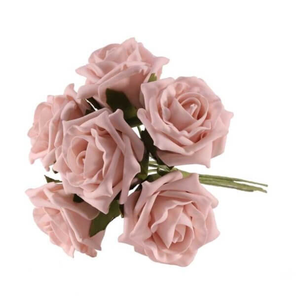 Bundle of Light Pink Foam Roses
