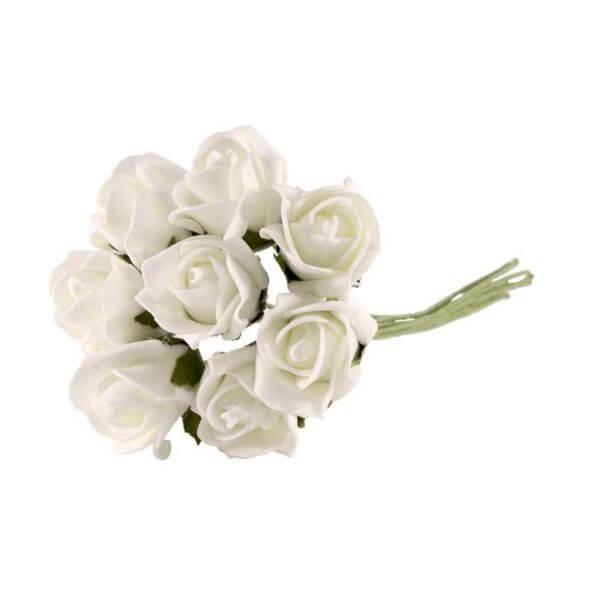 Bundle of Bright White Foam Roses