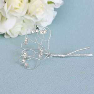 Clear Diamante Hearts on a Silver Wire