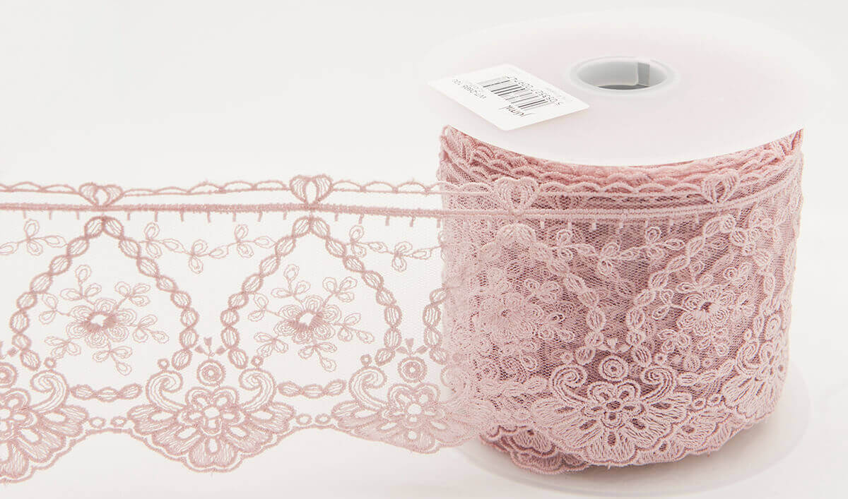 per metre 95mm Fine Embroidered Tulle Lace Trimming Flamingo Pink